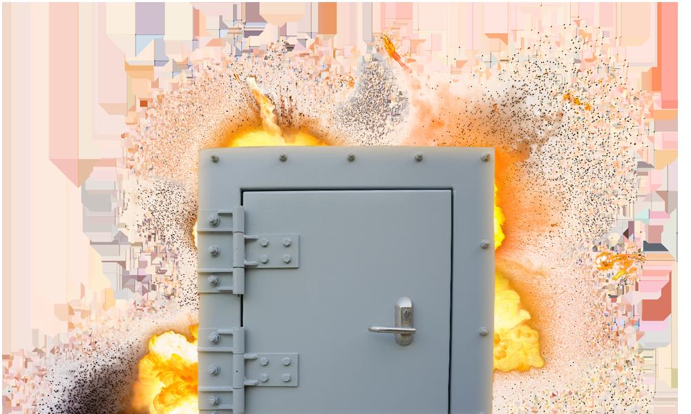 explosiewerende deur ontploffing